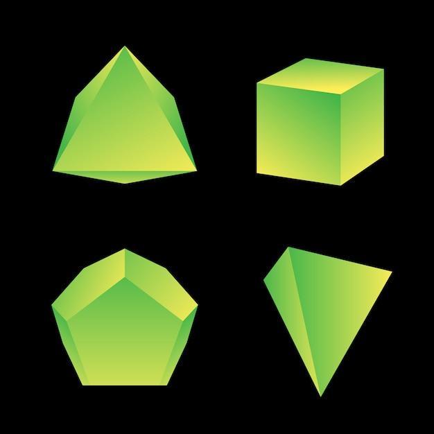 Giallo verde sfumato colore vari angoli poliedri decorazione forme collezione sfondo nero Vettore Premium