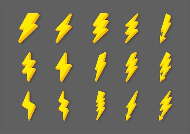 Lampo giallo lampo e tuoni icone impostate in stile cartone animato isolato su sfondo grigio Vettore Premium
