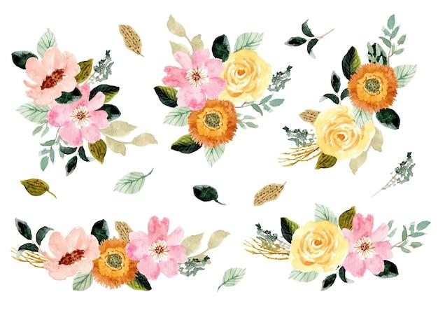 Collezione di composizioni ad acquerello giardino floreale rosa giallo Vettore Premium
