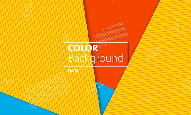 Sfondo geometrico giallo, rosso e blu. Vettore Premium