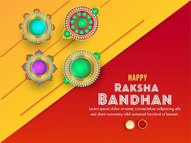 Biglietto di auguri giallo e rosso decorato con vari bellissimi rakhi per la celebrazione felice di raksha bandhan. Vettore Premium