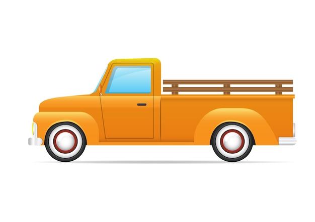 Retro automobile gialla isolata. vista laterale del camioncino giallo. Vettore Premium