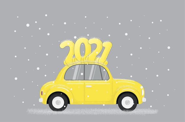 Auto retrò gialla con testo sul tetto in stile moderno alla moda Vettore Premium