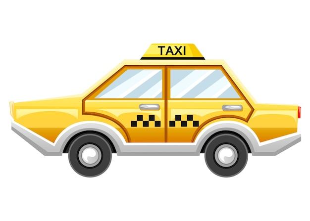 Auto taxi giallo. servizio taxi. catroon. illustrazione su sfondo bianco Vettore Premium