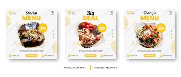 Posta sociale di media dell'insegna del menu dell'alimento giallo e bianco. Vettore Premium