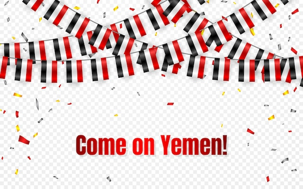 Ghirlanda di bandiere dello yemen su sfondo trasparente con coriandoli. appendi stamina per banner modello celebrazione festa dell'indipendenza dello yemen, Vettore Premium