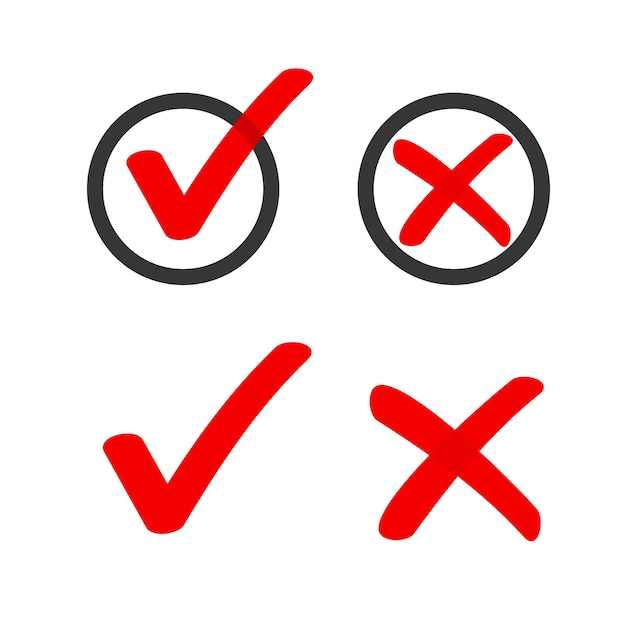 Sì no casella di controllo elenco marcatori segni di spunta icone cerchio doodle, segno di spunta rosso voto sondaggio disegnato a mano Vettore Premium