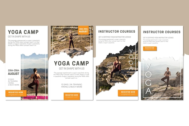Modello di storie di instagram del campo di yoga Vettore Premium