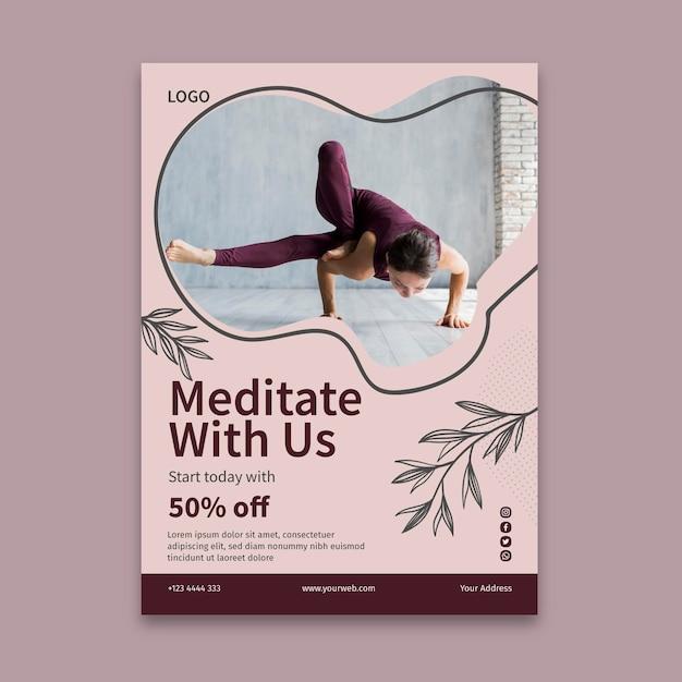 Modello di volantino di lezione di yoga Vettore Premium