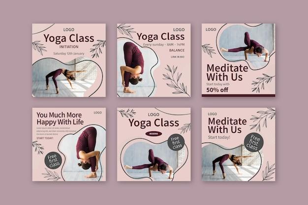 Modello di post instagram lezione di yoga Vettore Premium
