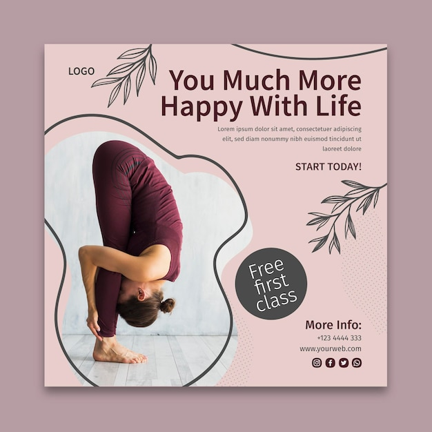 Modello di volantino quadrato di classe di yoga Vettore Premium
