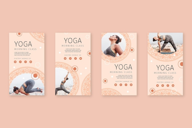 Raccolta di post di instagram di yoga Vettore Premium