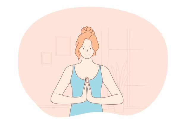 Concetto di stile di vita sportivo sano di meditazione yoga Vettore Premium