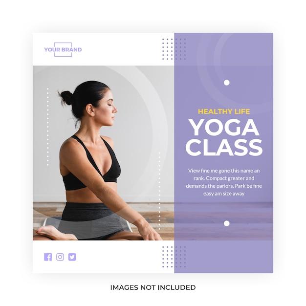 Meditazione yoga social media Vettore Premium