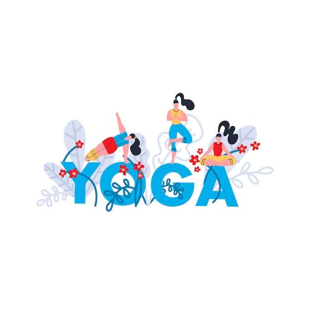 Stampa di pratica yoga. seminario su yoga, festival, lezione, evento. banner con brillante parola blu yoga, foglie tropicali ed esotiche e fiori e ragazze in pose e asana. illustrazione piatta. Vettore Premium