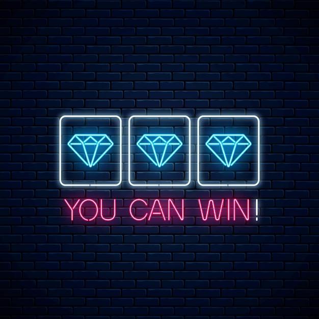 Puoi vincere - frase motivazionale al neon incandescente con tre diamanti sulla slot machine. Vettore Premium