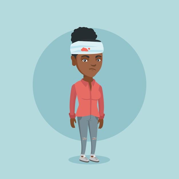 Giovane donna afro-americana con la testa ferita. Vettore Premium