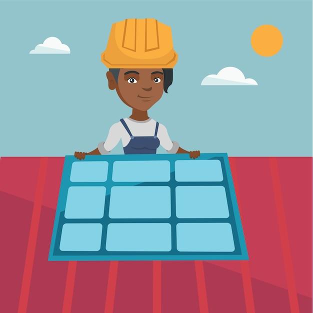 Giovane costruttore africano che installa pannello solare. Vettore Premium
