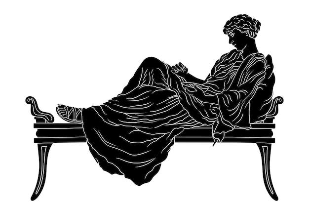 Una giovane donna greca antica giace sul letto con un cuscino e mangia la frutta dalla ciotola isolata. Vettore Premium