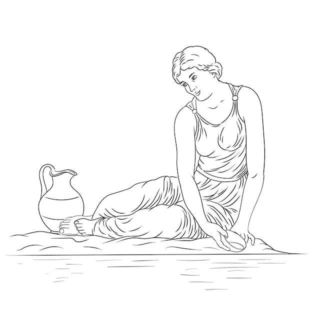 Una giovane donna greca antica si siede sulla riva del fiume con una ciotola e raccoglie l'acqua in una brocca figura isolata su sfondo bianco Vettore Premium