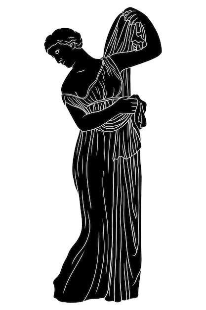 Una giovane donna greca antica con una tunica si alza e indossa un mantello. figura isolata su sfondo bianco. Vettore Premium