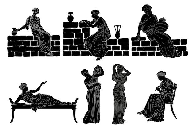 Una giovane donna greca antica. Vettore Premium