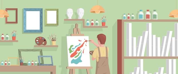 Giovane artista disegno immagine astratta su tela in studio d'arte Vettore Premium