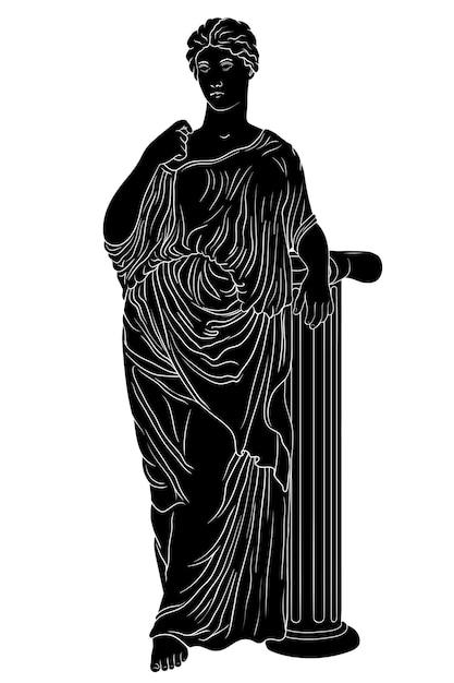 Una giovane bella donna greca antica snella in una tunica si trova vicino a una colonna di marmo e distoglie lo sguardo. Vettore Premium
