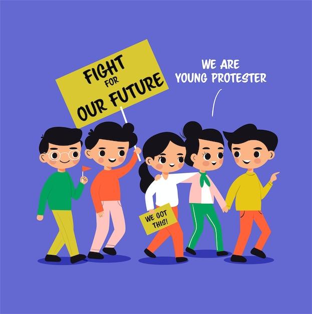 Fumetto della ragazza e del ragazzo che protesta per il loro futuro Vettore Premium