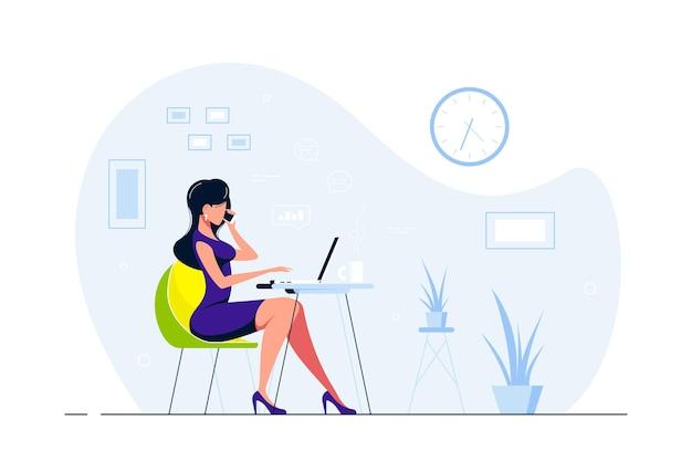 Signora giovane di affari che lavora al computer portatile alla scrivania in ufficio. illustrazione di stile piatto Vettore Premium