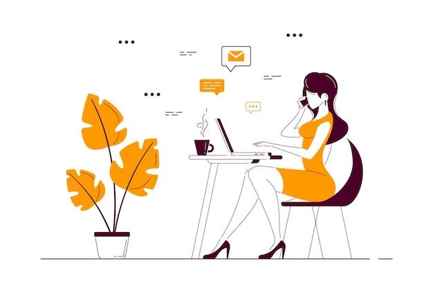 Signora giovane di affari che lavora al computer portatile alla scrivania in ufficio. illustrazione di arte linea stile piatto Vettore Premium