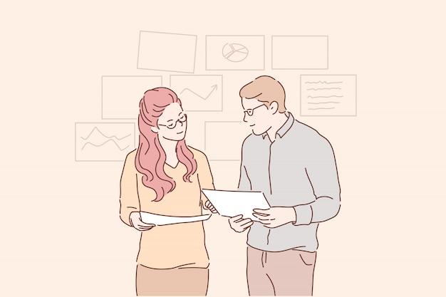 I giovani imprenditori conducono insieme analisi, strategia di sviluppo, miglioramento. Vettore Premium