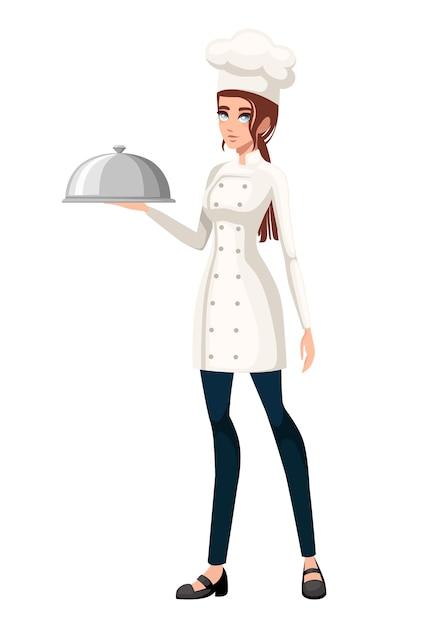 Giovane chef. chef di donne. Vettore Premium