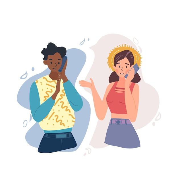 Una giovane coppia sta parlando da luoghi diversi utilizzando un telefono cellulare. una foto mostra l'usabilità di oggi. facile da lavorare, amare o collaborare, indipendentemente dalla distanza. Vettore Premium