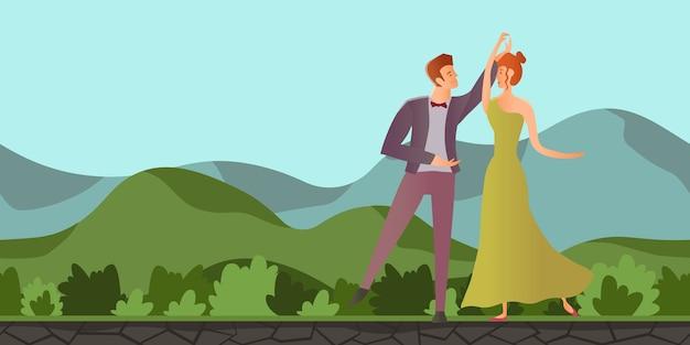 Giovane coppia innamorata. uomo e donna che ballano nel paesaggio di montagna. illustrazione piatta. Vettore Premium