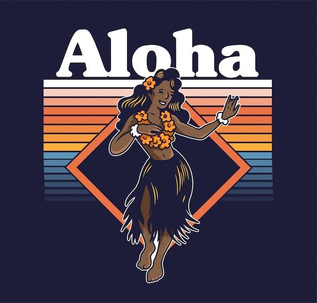 Ragazza carina hula hawaiana di giovane sorriso che balla sulla spiaggia luau aloha party. in gonna lei ed erba design di moda alla moda estate stampa vintage per t-shirt poster adesivo distintivo patch illustrazione del fumetto Vettore Premium