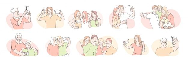 Giovani e anziani, selfie set concept Vettore Premium