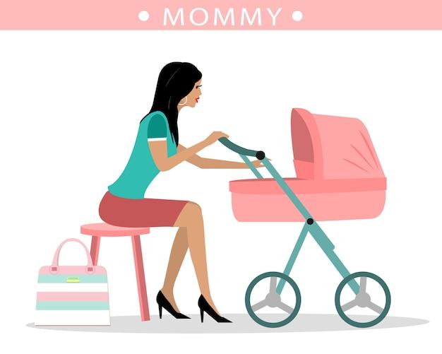 Giovane madre di moda con un passeggino Vettore Premium