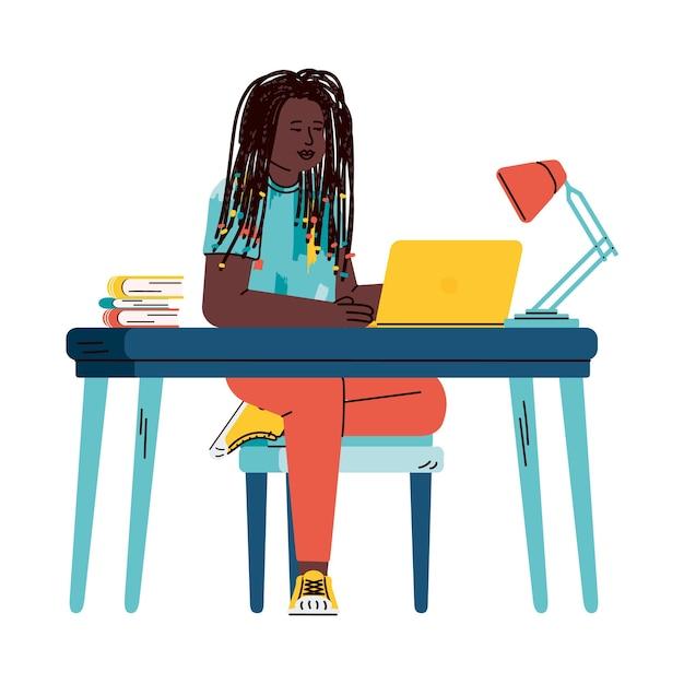 Personaggio dei cartoni animati di ragazza o adolescente che studia in remoto tramite computer di casa Vettore Premium