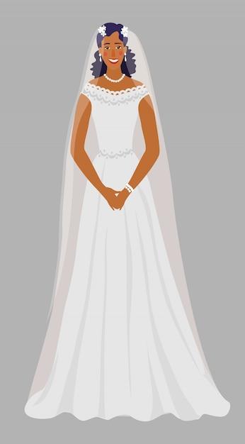 Una giovane ragazza in un abito da sposa, sposa in bianco con un velo. Vettore Premium