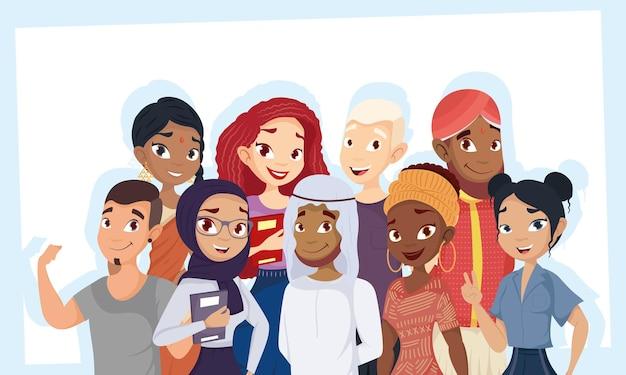 Giovane gruppo di personaggi di diversità Vettore Premium