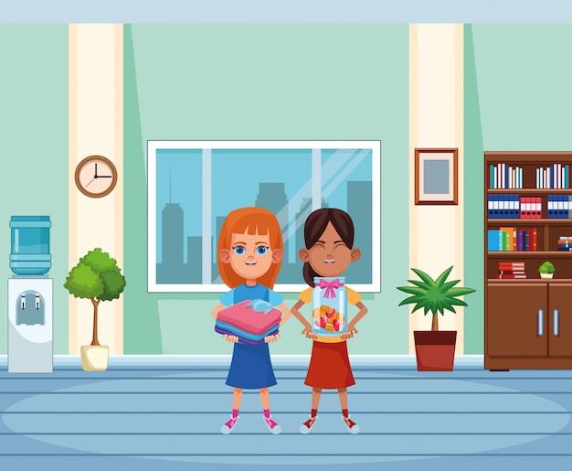 Carattere del cartone dell'avatar dei giovani bambini Vettore Premium