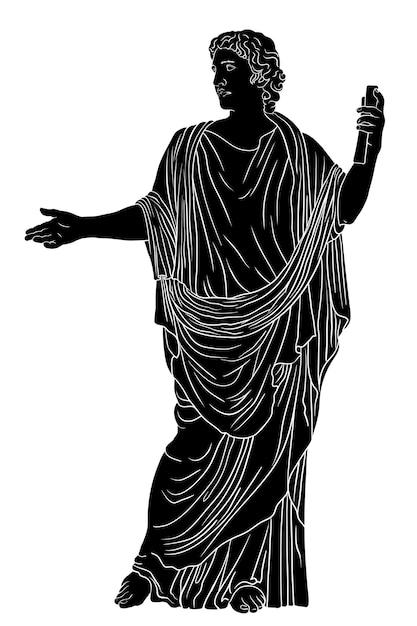 Un giovane con un'antica tunica greca con un rotolo di papiro in mano legge una poesia e fa dei gesti. figura nera isolata su uno sfondo bianco. Vettore Premium