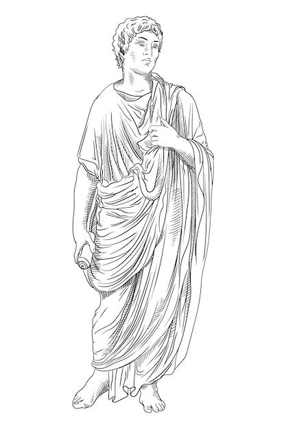 Un giovane con un'antica tunica greca con un rotolo di papiro in mano legge una poesia e fa dei gesti. Vettore Premium