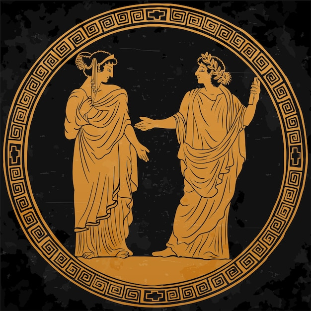 Un giovane con un'antica tunica greca con un rotolo di papiro in mano Vettore Premium