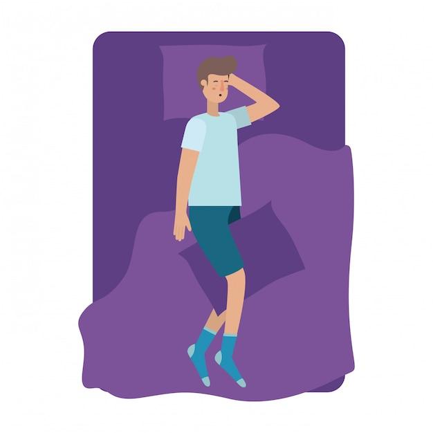 Giovane uomo a letto avatar personaggio Vettore Premium