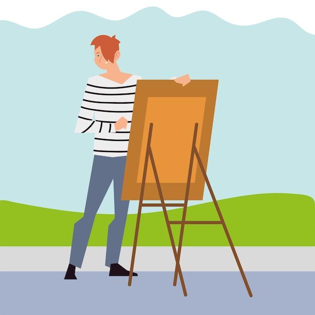 Giovane uomo dipinto con tela nella figura del parco Vettore Premium