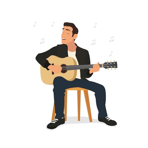 Giovane suonare la chitarra e canta una canzone. Vettore Premium