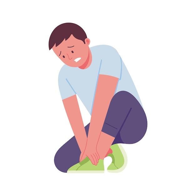 Un giovane con un'espressione di dolore che gli tiene una gamba a causa di un infortunio Vettore Premium