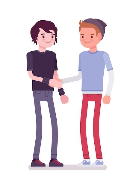 Handshaking dei giovani Vettore Premium